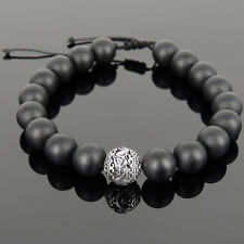 Men's Onyx Semiprecious Gemstones Carved Dragon bead Handmade braided bracelet