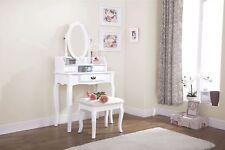 LUMBERTON DRESSING TABLE SET MAKEUP DESK 3 DRAWERS & PADDED STOOL SEAT WHITE