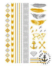 BRACELETS TATOUAGE TEMPORAIRE METALLIQUE OR flèches map monde encre plumes INK