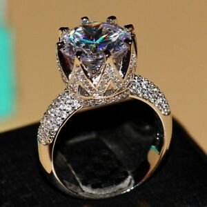Big Crown Ring Solitaire 8ct Simulated CZ Stones Jewelry 925 Silver Size 5 to 10