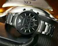 OFFICIAL MENS EMPORIO ARMANI AR2448 CARBON BLACK STAINLESS STEEL WATCH✅