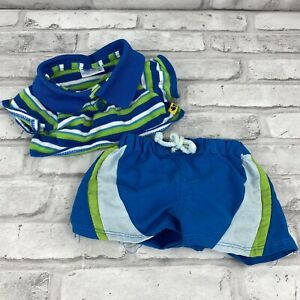 Build A Bear T Shirt And Swim Trunks Teddy Clothes Outfit Blue Green Stripes