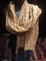 Vintage Gold Yellow Silk Sari Scarf Shawl