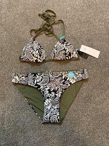 M&S Bikini Set Top Size 12 Bottom 10 Reversible Black White Khaki Halterneck BN