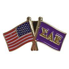 Sigma Alpha Epsilon Flag and USA Flag Lapel Pin SAE