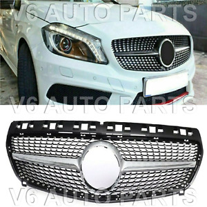 42C FRONT BUMPER GRILLE FOR 2012-2015 BENZ A CLASS W176 160 A180 A45 AMG DIAMOND