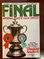 Football programme Arsenal v West Ham United 10/5/1980  FA CUP FINAL at Wembley