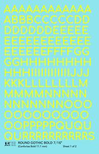 K4 G Decals Yellow 7/16 Inch Round Modern Gothic Bold Letter Number Alphabet Set