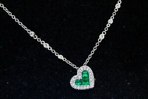Italian 18K WG lovely 1.0CTW VS1/F diamond & emerald heart pendant necklace