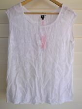 BNWT Rockmans Women's Semi-Sheer White Embroidered Floral Pattern Top - Size 8