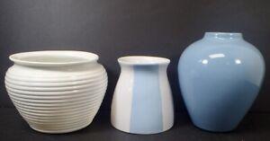 lot of (3) contemporary porcelain ceramic Blue & White Planter & Vases