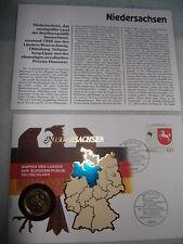 """Numisbrief """"Wappen der Länder""""  Niedersachsen, 1 DM vergoldet"""