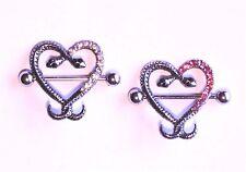 Snake Love Heart Pink Gem Dangle Nipple shield Ring Bar body piercing jewellery