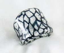 Genuine Murano Glass Ring Made Italy 925 Sterliing Silver In Glass Size 5.5