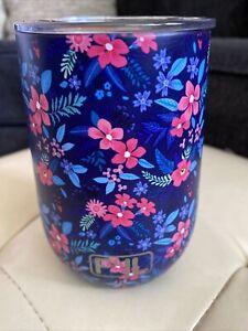 fil metal travel stemless wine mug wirh cover blue floral