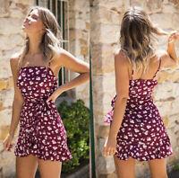 Fashion Sexy Women Summer Mini Short Dress Chiffon Flower Beach Party Dresses