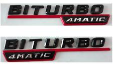 2pcs For Mercedes Emblem Sticker Biturbo 4Matic Side Fender Badge Red Black