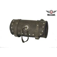 10 Inch Brown Motorcycle Hard Studded Cowhide Leather Tool Bag For Harley - NEW