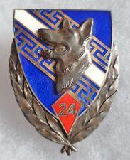 Insigne ARGENT MASSIF Chien 24° GV GROUPE VETERINAIRE Général D. ORIGINAL BADGE