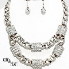 CLEARANCE HIGH END RHODIUM SILVER & CRYSTAL CHUNKY NECKLACE JEWELRY SET