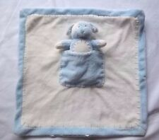 KIDS PREFERRED Plush PUPPY Dog BLANKET Pocket BLUE Cream White Stitches Baby Toy