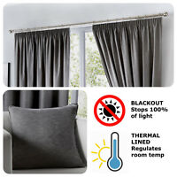 Fusion DIJON Charcoal Grey - Blackout Pencil Pleat Curtains, Tiebacks & Cushions