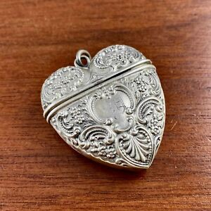 FOSTER & BAILEY FIGURAL STERLING SILVER MATCH SAFE HEART SHAPE CHATELAINE LOOP