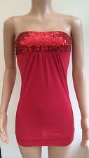 *NEW* Papaya Occasionwear Red Sequin Tunic Dress Top Size 8