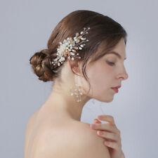 Golden Crystal Pearl Hair Comb Headband Tiara Crown Headpiece Women Girl Wedding