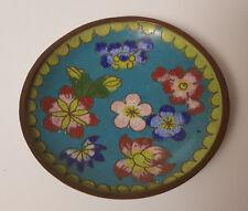 Vintage Cloisonne Plate Green Aqua Blue Floral Design