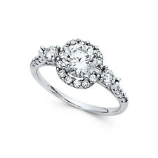 Anniversary Solitaire Cz Band Bridal Ring Cz Halo Engagement Ring 14k White Gold