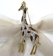 18K Gold Plate Giraffe Swarovski Element Austrian Crystal Rhinestone Brooch Pin
