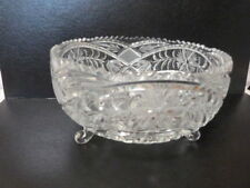 """Lead Crystal Cut Glass Footed Centerpiece Bowl Primrose Imperlux Germany 8.5"""""""