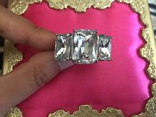 Betsey Johnson HUGE Vintage Silver Clear Diamond Rectangular Three Crystal Ring