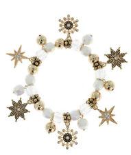 CHRISTMAS ELEGANT WHITE AND GOLD TONE AB STRETCH CRYSTAL DANGLE CHARM BRACELET