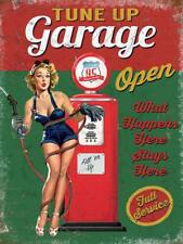 Tune Up Garage Open, Funny Pin-up Girl Vintage Pump Small Metal Steel Wall Sign