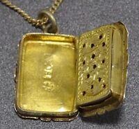 Early Victorian Silver Vinaigrette, Stamped Birmingham Perfume Box Pendant