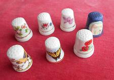 Insectes  - Fleurs - Animaux  :  Lot de 7 Dés à Coudre :  Porcelaine   !