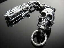 Heavy Silver SKULL Finger Hand Key Chain for Harley Davidson Biker TBE84