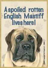 "Magnet-A Spoiled English Mastiff Lives Here Wood Magnet-3.5"" X 2.5"""