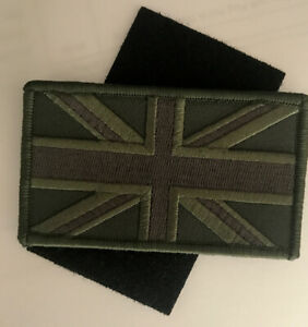 Green UK Flag Patch hook&lo op vel-cro Sew On Union Jack Army Embroidered Badge