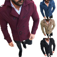 Mens Lapel Double Breasted Trench Coat Outwear Slim Jacket Overcoat Peacoat Cool
