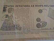 """PATRON ORIGINAL POUR LA POUPEE """" BLEUETTE ROBE LE TEMPS DE CERISES  MAI  1935"""