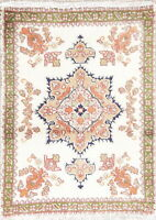 VINTAGE Geometric IVORY 2'x3' Tabatabaei Rug Hand-Knotted WOOL Kitchen Carpet