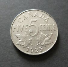 1925 KEY DATE CANADA 5 CENTS COIN, FINE CIRCULATED CONDITION, LOT#S216