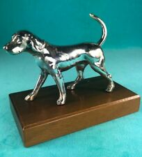 Weidlich Brothers Silverplated Vintage Foxhound Dog On Wood Plinth, Early 1900s