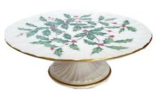 """Lenox China 10 1/2"""" Holiday Holly Pattern Pedestal Footed Cake Plate Stand"""