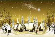 7x5FT Starry Evening Christmas Village Reindeer Custom Photo Background Backdrop