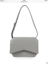 New Authentic Givenchy $2150 Medium Bow-Cut Leather Shoulder Bag Handbag, Gray