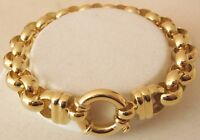 LARGE GENUINE 9K 9ct  SOLID Gold PLAIN BELCHER Bracelet with BOLT RING CLASP